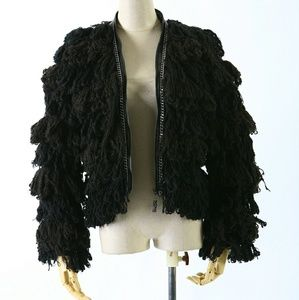 Punk Rave Jackets & Coats - Shag Fur Coat Black Chain Oversized Goth Rave Punk